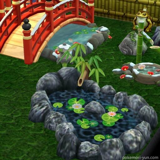 日本庭園風レイアウトのハスの池画像
